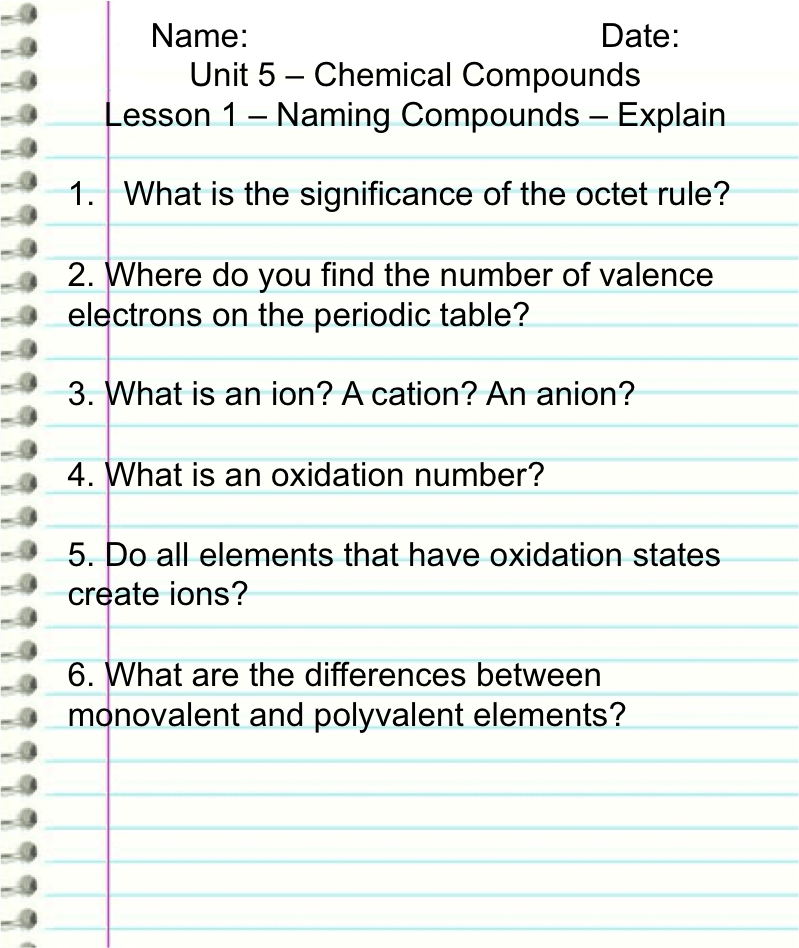 Explain i naming compounds 2 uths demo course this is an image of a notebook page with the following text written upon it urtaz Images