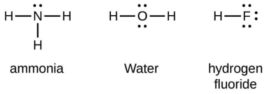 an image of the lewis structures for ammonia, water, and hydrogen fluoride